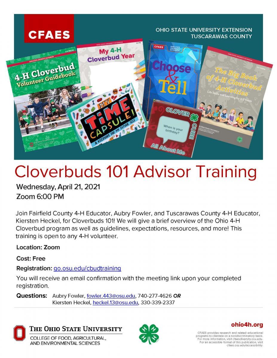 Cloverbuds 101 Advisor Training Flyer