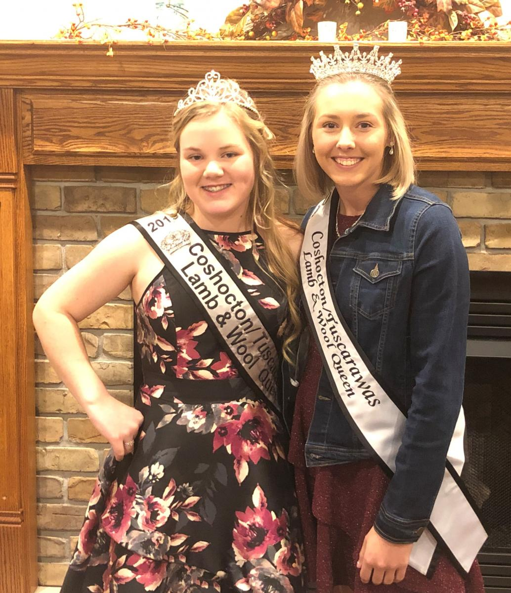 Adeline Kendle, 2019 Queen, with Madison DeVault, newly crowned 2020 Lamb & Wool Queen.
